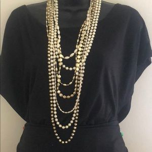 long strand of pearls & gold beads with bracelets